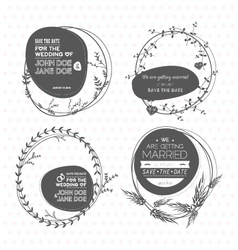 Set of floral wedding stamps vector image