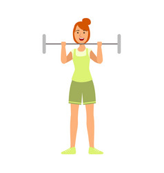 young woman lifting barbell for biceps vector image vector image