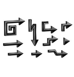 3d arrows black straight arrows with turning vector image