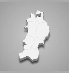 3d map region japan vector