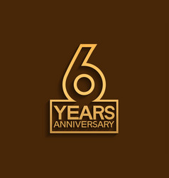 6 years anniversary design line style with square vector