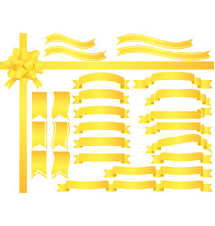 a set assorted yellow ribbons vector image