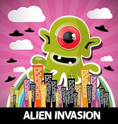 Alien invasion cartoon with big green monster vector