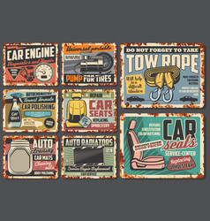 auto service car mechanic garage rusty plates vector image