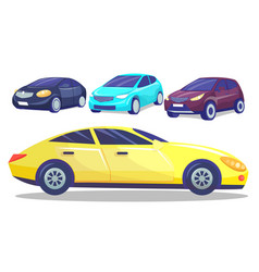 automobile collection set colorful modern cars vector image