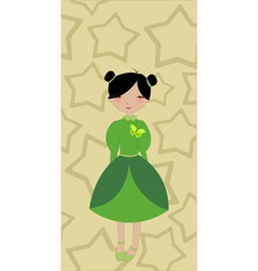 beautiful little girl on the stars background vector image