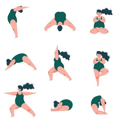 Beautiful plus size curved woman doing fitness vector