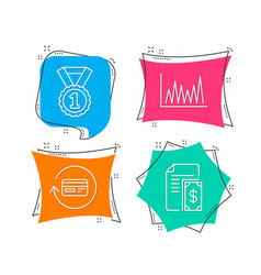Best rank line graph and refund commission icons vector