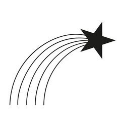 Black and white shooting star silhouette vector