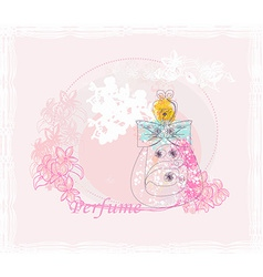 Bottle of perfume with a floral aroma vector