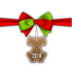 bow ribbon with tag dog label with 2018 vector image vector image