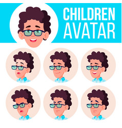 boy avatar set kid high school face vector image