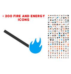 Burned match icon with bonus fire set vector