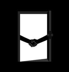 Business handshake behind the door contract vector