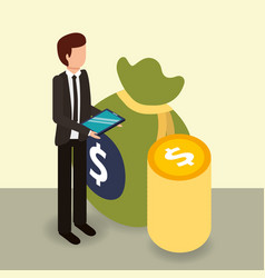 Businessman holding mobile coins and bag money vector