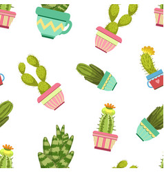 cactuses and succulents in flower pots seamless vector image