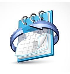 calendar with blue arrow vector image