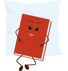 Cartoon red book rests on pillow vector
