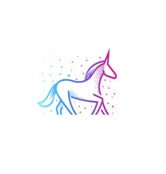 Cartoon unicorn linear silhouette icon colorful vector