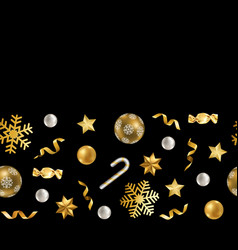 christmas and new year seamless border with winter vector image