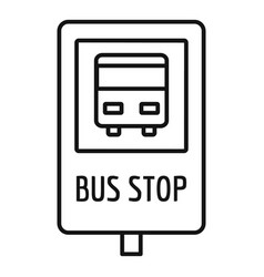 city bus stop sign icon outline style vector image