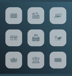City icons line style set with storefront brick vector
