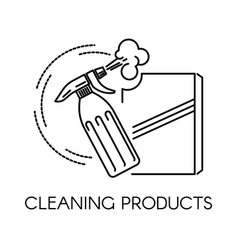 Cleaning products spray and powder in containers vector