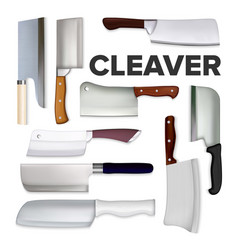 cleaver large meat knife collection set vector image