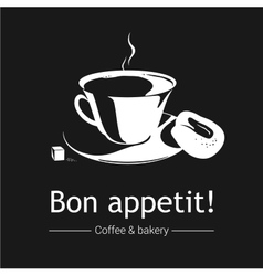 Coffee and bakery Black and white vector image