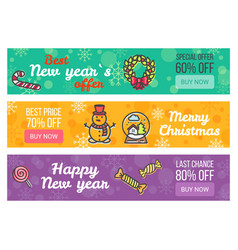 Color sale banners new year special offer buy now vector