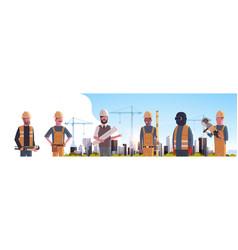 construction workers team industrial technicians vector image
