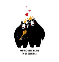 Couple of lovely bears in crowns vector