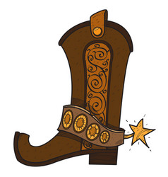 Cowboy boot logo wild west vector
