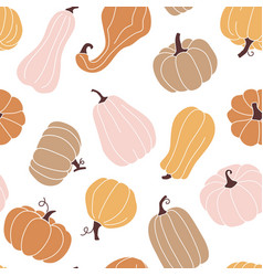 cute autumn seamless pattern with pumpkins vector image