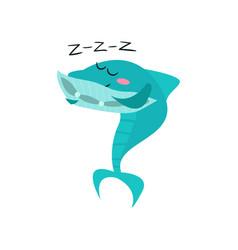 Cute shark cartoon character sleeping funny blue vector