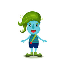 Cute smiling boy troll with green hair and blue vector