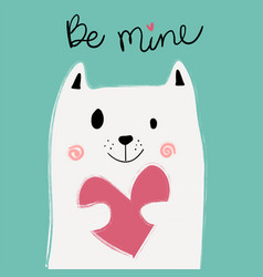 Cute white cat holding pink heart on mint vector