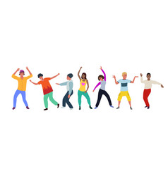 dancing people happy men and women move to the vector image