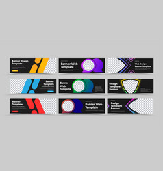 design horizontal black web banners with vector image