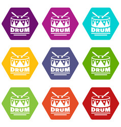 drum icons set 9 vector image