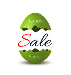 easter egg text sale happy easter egg 3d template vector image