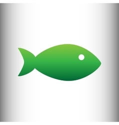 Fish sign Green gradient icon vector image