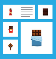 Flat icon cacao set of chocolate bar sweet vector