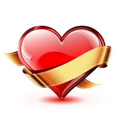 Glossy heart with golden ribbon vector