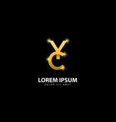 Gold letter y logo yc letter design with golden vector