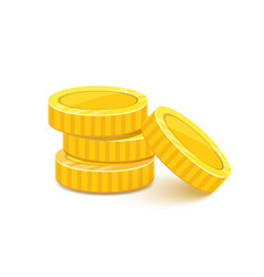 golden coins stack metal money pile realistic vector image