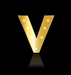 golden letter v shiny symbol vector image