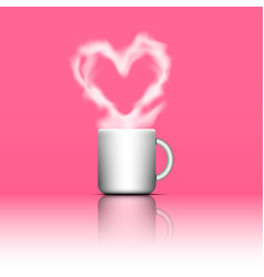 heart shape smoke on coffee cup vector image