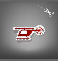helicopter sign red icon vector image