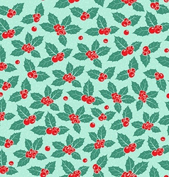 Holly berry flat seamless pattern vector image vector image